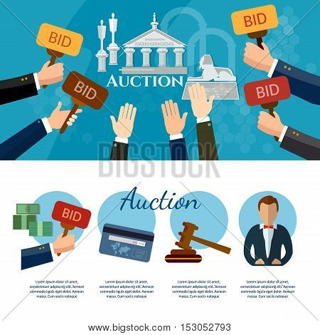 Auction and bidding banners selling antiques art object culture auction bidding concept vector illustration