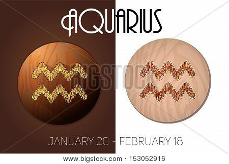 Aquarius zodiac sign in circular frame vector Illustration made in the form of filaments. Icons on a wooden background