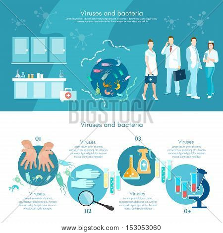 Medical analysis microbiology infographics medical research scientists test tube and microscope making research clinical laboratory vector