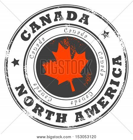 Grunge rubber stamp with word Canada, North America inside, vector illustration