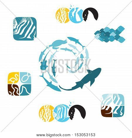 Set of various fish and related icons