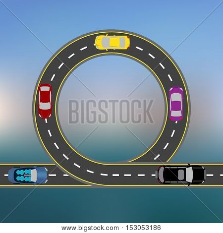 Traveling along the coast by car. Abstract Highway, the road in a landscape. Transport. Vector illustration