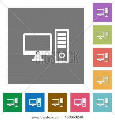 Desktop computer flat icons on simple color square background.