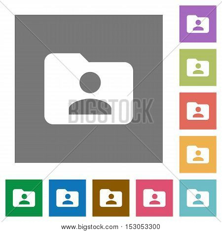 Folder owner flat icons on simple color square background.