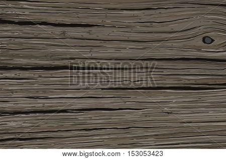 Old and dark cracked of the time wooden oak board
