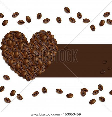 banner from coffee beans on a white background
