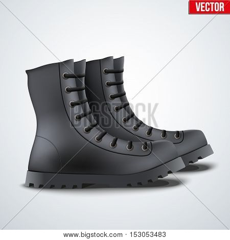Black Leather Military Army Boots. Side view. Vector Illustration Isolated on Background.
