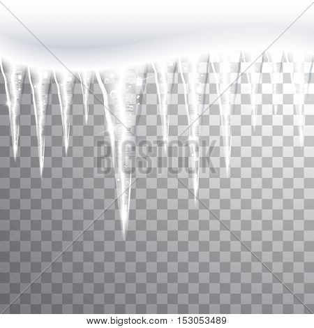 a glittering icicles on a transparent background