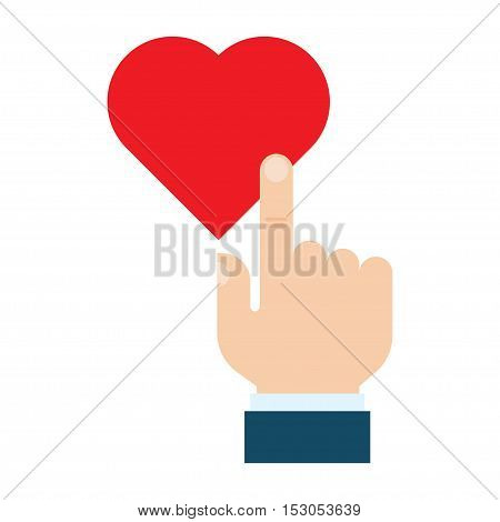 Hand pressing like heart button valentine day charity and social activity. isolated on white background. flat style vector illustration