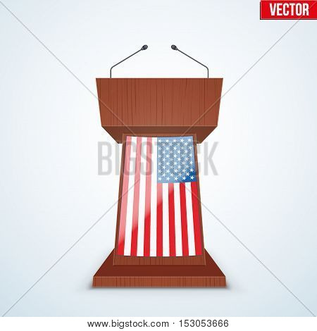 Wooden Podium Speaker Tribune with United States flag. US Election 2016 symbol. Vector Illustration Isolated on Background.