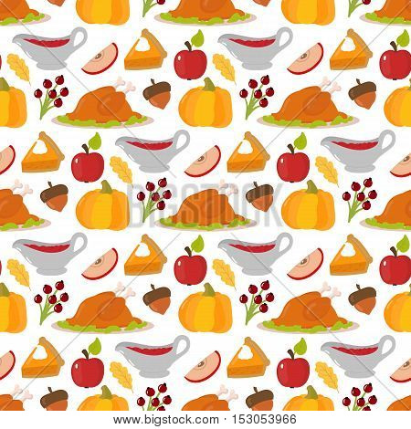 Happy thanksgiving day food seamless pattern card design with holiday objects. Fresh food harvest autumn season thanksgiving day vector set. Traditional seasonal nature vegetable thanksgivin