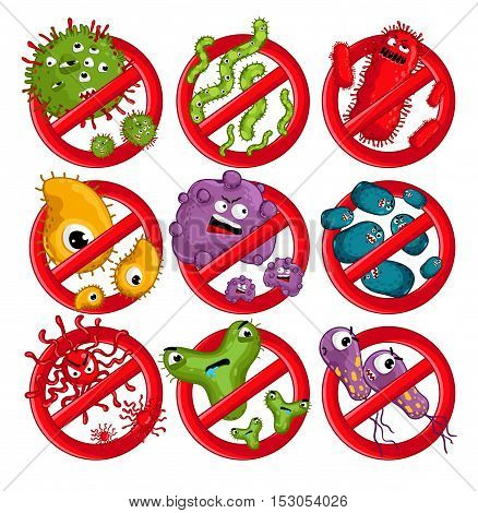 Stop viruses symbol. Cartoon viruses characters vector illustration on white background. Cute fly germ viruses infection vector. Funny micro bacteria characters. Microbe, Pathogen. Viruses icon. Funny isolated viruses characters. Different colorful virus