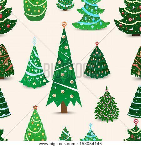 Christmas tree vector seamless pattern xmas gift design. Holiday celebration winter christmas tree. Vector ball season decorative shiny christmas tree, festive pine seamless pattern design