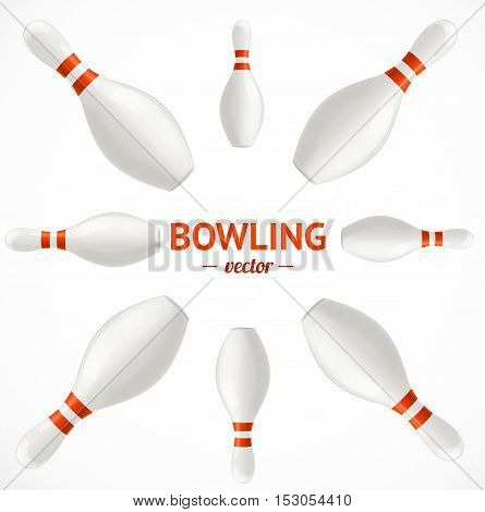 Bowling Pins Set Card or Poster. Vector illustration