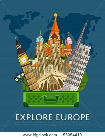 Explore Europe banner with Eiffel Tower, Leaning Tower, Big Ben and others famous architectural attractions in open suitcase vector illustration. Time to travel concept. Travel lifestyle. Famous Europe buildings. Europen architecture. World travel