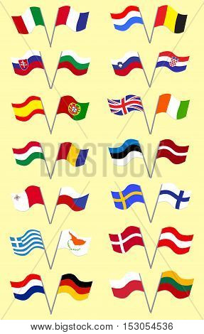 Set with European Union Flags on the Pole Placed Two by Two on the Color Background. Vector Flat Style. Vector EPS 10