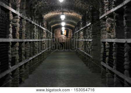 Wine bottles in winery cellar