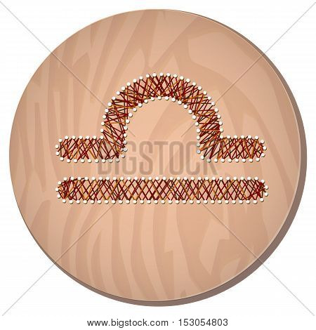 Libra zodiac sign in circular frame vector Illustration made in the form of filaments. Icon on a wooden background