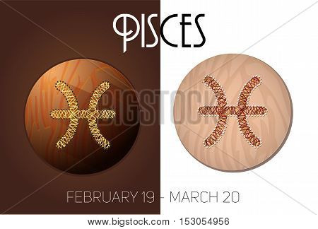 Pisces zodiac sign in circular frame vector Illustration made in the form of filaments. Icons on a wooden background