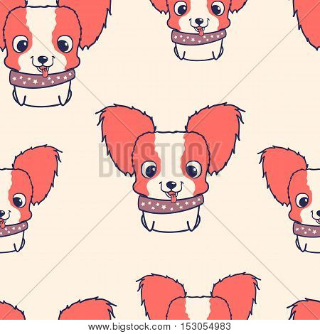 Seamless pattern with papillon puppies. Colorful vector illustration. Wallpaper with cartoon dog. Cute puppies on light background