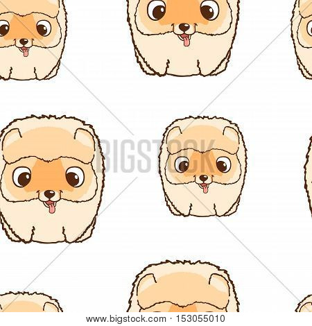 Seamless pattern with pomeranian puppies. Colorful vector illustration. Wallpaper with cartoon dog. Cute puppies on white background