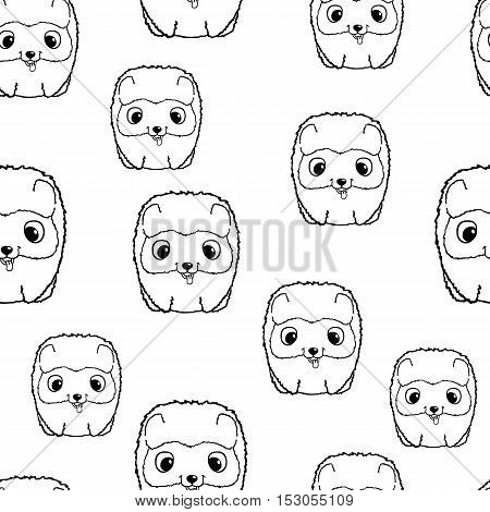 Seamless pattern with pomeranian puppies. Black and white vector illustration. Wallpaper with cartoon dog with funny muzzle