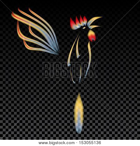 Abstract illustration of a fiery rooster with a red crest on the background of the cell. 2017 Red Rooster. Vector illustration