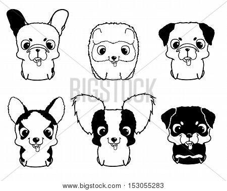 Set of cartoon puppies. Black and white vector illustration isolated on white. Rottweiler, siberian husky, pug, pomeranian, french bulldog, papillon