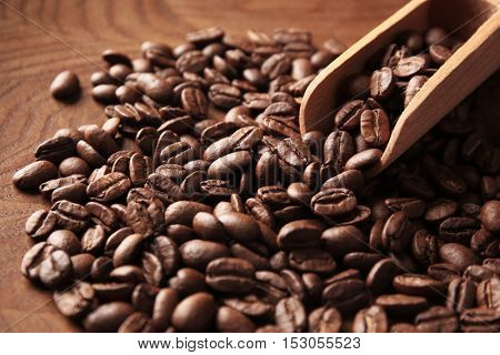 Coffee beans and scoop on wooden background, close up view
