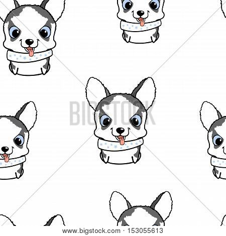 Seamless pattern with siberian husky puppies. Vector illustration. Wallpaper with cartoon dog. Cute puppies on white background