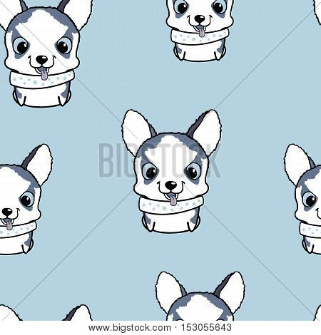 Seamless pattern with siberian husky puppies. Vector illustration. Wallpaper with cartoon dog. Cute puppies on blue background