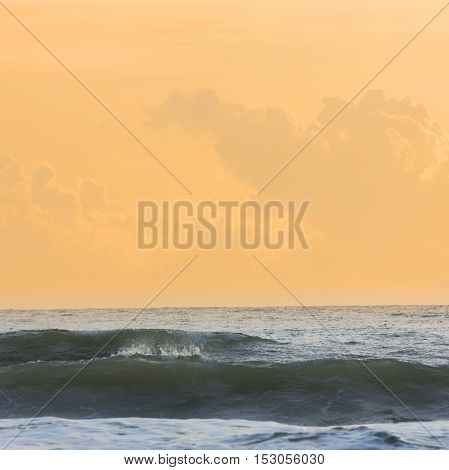 beautiful sea with clear sky and with cloud horizon background