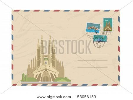 Cathedral of the Sagrada Familia in Barcelona, Spain. Postal envelope with famous architectural composition, postage stamps and postmarks vector illustration. Postal services. Envelope delivery. Gift envelope. Souvenir of trip. Travel souvenir. Envelope l