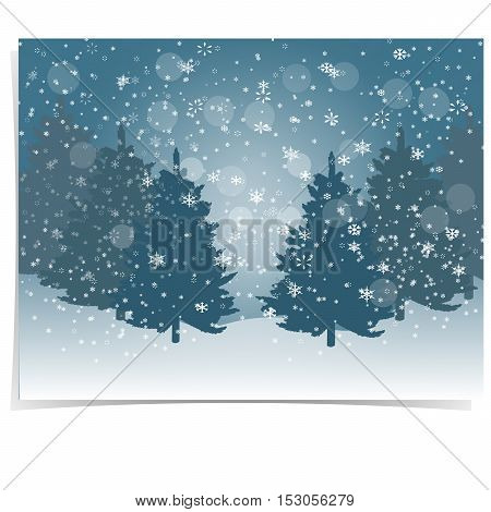Christmas, New Year s gift card. The stylized image of blue spruce trees on a winter day. Snow in winter forest. Snowflakes. Vector illustration