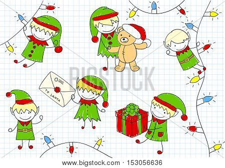 Christmas elves - Santa Claus helpers - with gift, Teddy bear, letter, Christmas tree garland. Sketch on notebook page