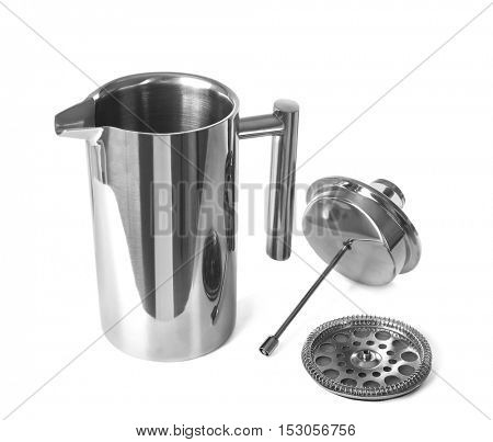 New coffee maker with lid and filter isolated on white