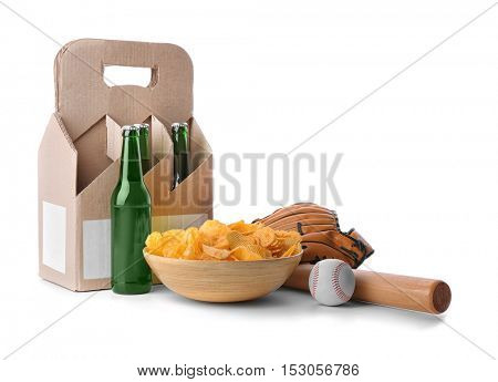 Beer with snacks and baseball accessories on white background