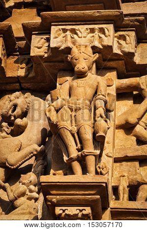 Stone carving bas relief sculptures on Vaman Temple, Khajuraho, Madhya Pradesh, India