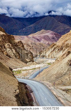 Srinagar Leh national highway NH-1 asphalt road in Himalayas. Ladakh, India