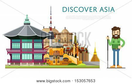 Welcome to Asia travel on the world concept traveling flat vector illustration. Worldwide traveling. Asia landmarks. Famous Asian buildings. Asian architecture in a cartoon style. Asia travel concept. World travel background. Travel asia banners. Time to