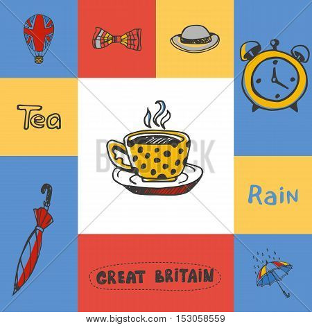 Great Britain checkered concept in national colors. Five o'clock tea, bowler hat, bow tie, rain, umbrella, alarm-clock, balloon hand drawn vector icons. Country related doodle symbols and text