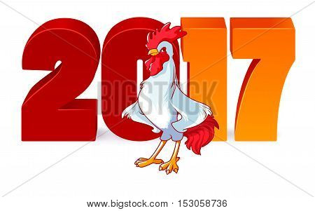 Vector illustration with rooster symbol of 2017. Vector elements for New Year's design. Cartoon character on a white background with 2017 new year 3d numbers.