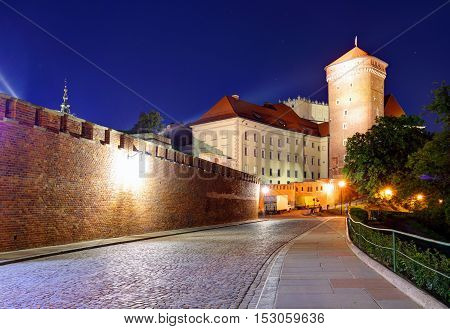 Wawel Castle in the evening in Krakow Poland
