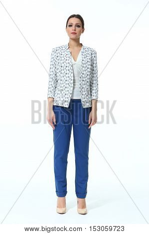 woman with straight hair style in summer blue trousers and printed light jacket casual high heels shoes full length body portrait standing isolated on white