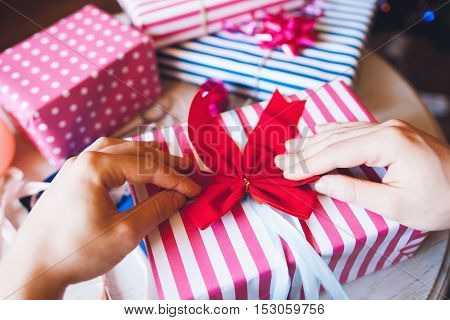 Gift Wrapping Surprise Holiday Christmas Decoration Handmade Concept