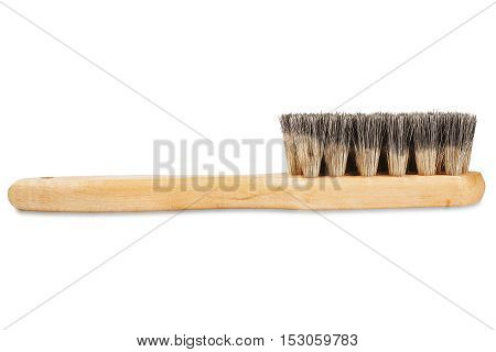 brush for cleaning shoes with bristles on isolated white background