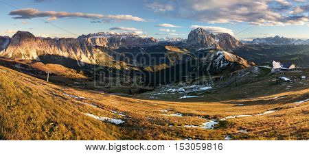Meadow on Seceda plateau in Val Gardena Italy Europe