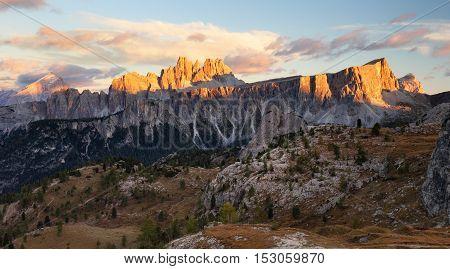 Italy Doloomites Alps cinque Torri at sunset