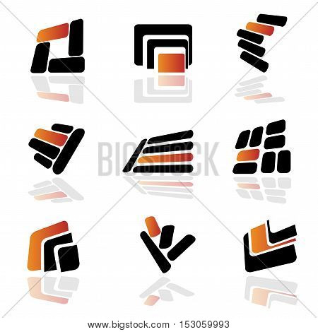 Vector collection of abstract symbols with shadow