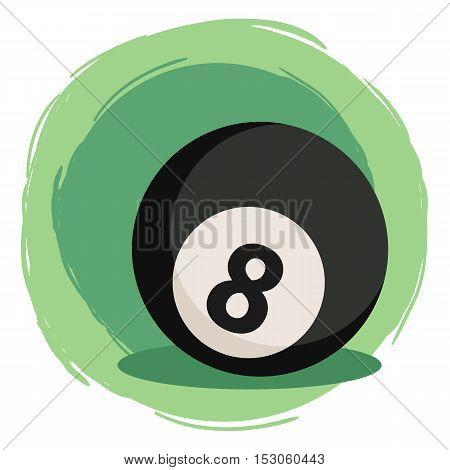 Black Billiard ball number eight 8 isolated on green white background vector illustration.